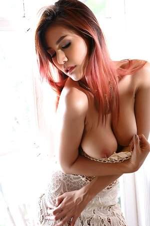 asian fuck, beautiful, big tits, dildo, dress, natalie wang, redhead, solo girl,